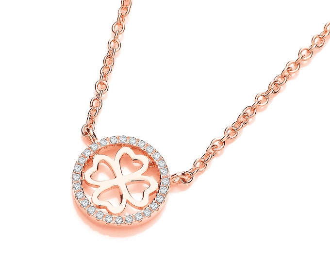 "Rose Gold Plated Sterling Silver Micro Pave Cz Heart4Heart 17"" Necklace"
