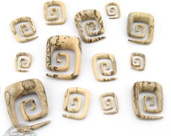 """Tamarind Wooden Square Spirals (8 Gauge - 5/8"""")"""