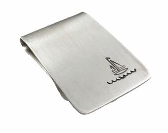 Sailing Over the Waves Sailboat Money Clip Bronze or Sterling Silver, Gift for Him, Nautical Gift, Ocean Lover