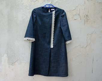 Denim Mini Dress, Retro Mod Blue Dress, Aline Dress with Three Quarter Sleeves