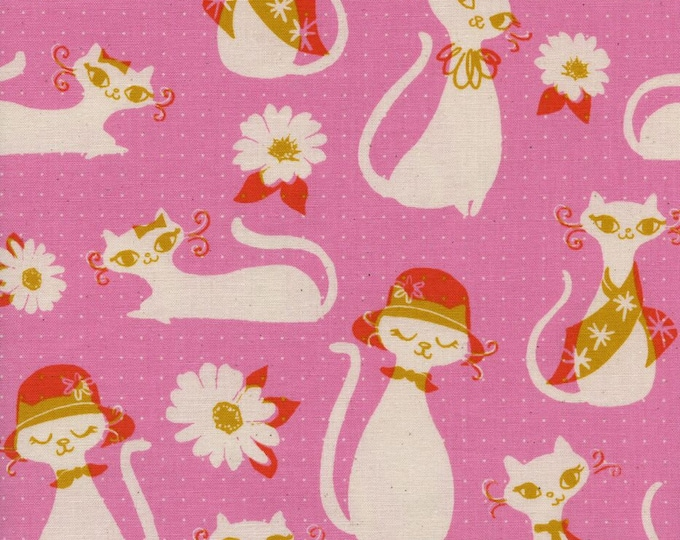 Beauty Shop by Cotton + Steel - Fancy Cats Pink - Cotton Woven Fabric