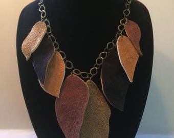 Leather Autumn Leaves Necklace