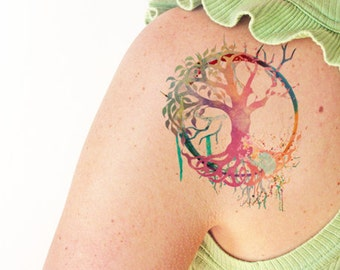 Tree of life watercolor - Temporary tattoo