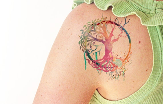 Tree of life watercolor temporary tattoo for Tree of life watercolor tattoo