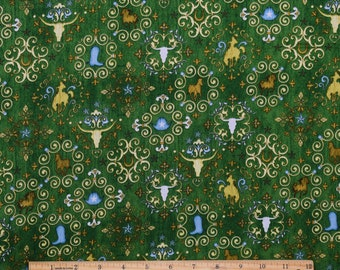 Western Fabric Unbridled Western Symbols in Hunter Green From Quilting Treasures 100% Cotton