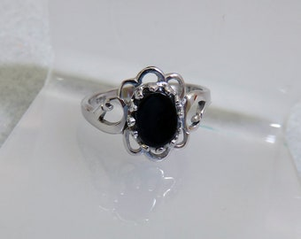 Sterling Filigree Black Onyx Ring, Size 6.25