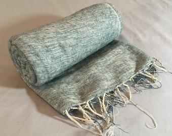 Nepalese Hand-Loomed Yak Wool Blanket,Throw,Shawl- Steel Blue & Floral White