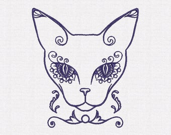 The cat machine embroidery designs 2 size