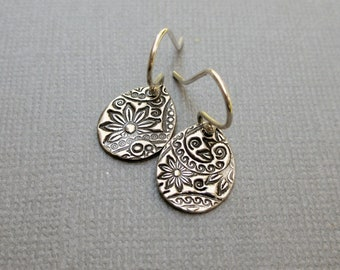 Silver Teardrop Earrings, Sterling Silver, Boho Earrings, Floral Earrings, PMC Earrings, Metal Clay Jewelry, Gift for Mom, Gift Under 40