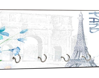 """Vintage Style Parisian Themed Eiffel Tower in Paris, French Design - 5"""" by 11"""" Key Hanger Household Decoration with Four Hooks"""