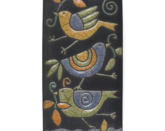 Birds ,Ceramic tile,Whimsical,turquoise,green,orange handmade, wall art, home decor 3x6 raku fired art tile