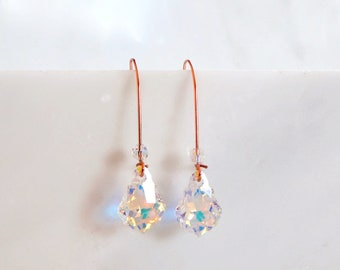Long iridescent crystal earrings on rose gold  - rose gold earrings - crystal earrings - rainbow crystal - clear ab