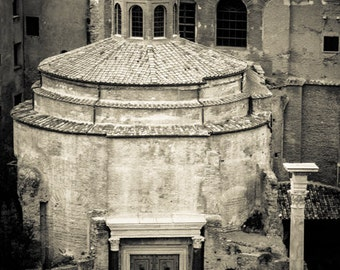 Rome Italy - Roman Forum -  Black and White Sepia - Fine Art Photograph - Temple of Antoninus and Faustina