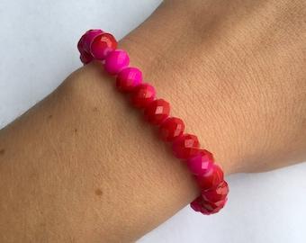 Hot Pink I Stretch Beaded Bracelet