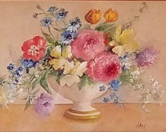 Framed Original Watercolor Painting of Flowers in a Bowl