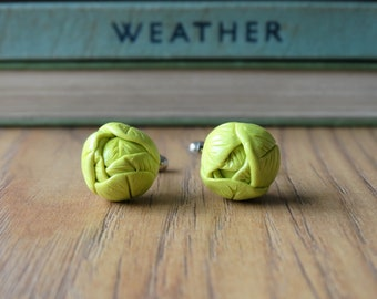 By the Shed White Green Cabbage Cufflinks - Gardening - Vegetable Vegetarian -Brussels Sprout - Harvest Allotment Patch - Lunch - Novelty