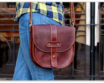 Leather Saddle bag- Waxed leather crossbody bag -Cognac brown leather crossbody bag -Tablet bag - Gift for Her- Free Personalization