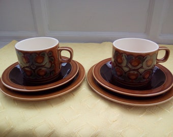 """Vintage Tableware, Hornsea Pottery """"Bronte"""" Set Of Two Trio's. Vintage Mid Century Modern Two Cups, Saucers and Plates, Vintage Tableware."""