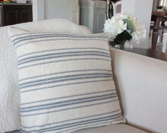 Beige with Blue Stripes Grain Sack Style Pillow Cover// Farmhouse Pillows// Decorative Pillows// Throw Pillows