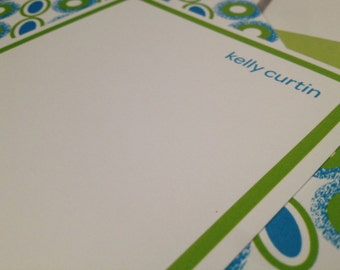 """beaded print notecard (lime green), set of 25, 4"""" W x 9.25"""" H"""