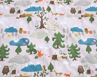 Fabric pale pink forest and Animals fabric Cotton Fabric Kids Fabric Scandinavian Design Scandinavian Textile