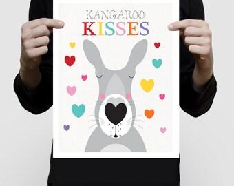 Kangourou bisous pépinière art impression affiche animaux australiens coloré enfants enfants bébé fille ou garçon coeurs amour Australie - arc en ciel lumineux