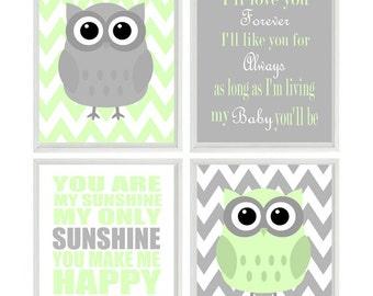 Nursery Art Owl Print Set  - You Are My Sunshine Quote - Owls Gray Light Green - Chevron - Baby Boy Room - Custom Wall Art -