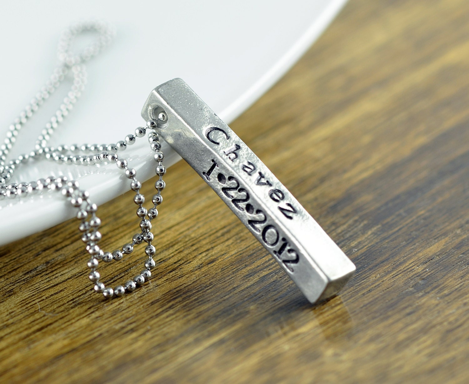Personalized Jewelry Mens Jewelry Bar Necklace Hand stamped