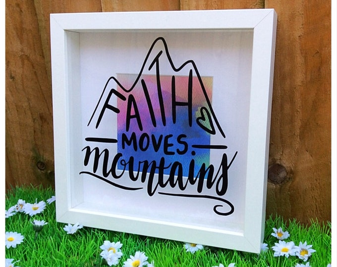 Featured listing image: Decorative Bible Verse Faith Moves Mountains Shadow Box Frame