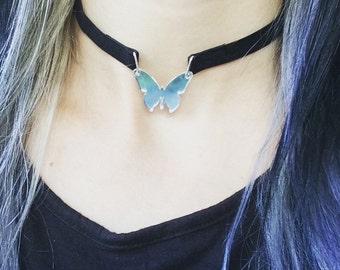 butterfly choker necklace - boho choker - butterfly jewelry - butterfly wings - bohemian - hippie choker necklace- black velvet