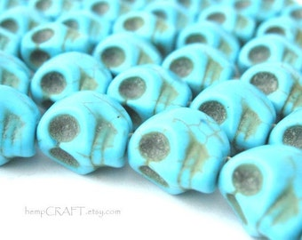 Skull Beads, Turquoise Day of the Dead Stone Beads - Full Strand 30pc - 8x12mm
