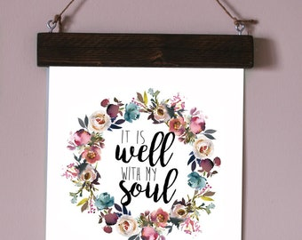It is Well Framed Print, Magnetic Wood Frame, It is Well, Wood Frame, Christian Print, Poster Frame,Birthday, Coworker, Gift Idea