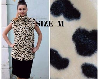 Animals print vest, fashion women vest, Faux Fur vegan, Leopard Style, Moto Vest Top, Vintage waistcoat, Leopard print top