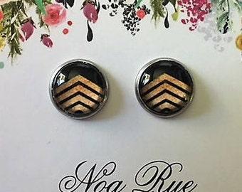 Gold Chevron 12mm Stud Earrings