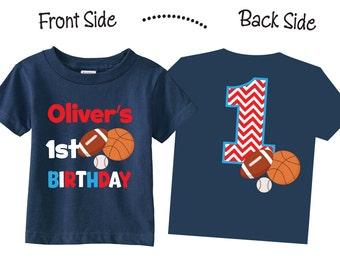 Sports Birthday Shirts Sports  1st Birthday Tshirts for any Age or Birthday on NAVY shirts