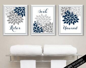 Floral Relax Soak Unwind Print Trio. Bathroom Home Decor Wall.  Bathroom Art. Flower Bathroom. Navy Blue Bath Art. Flower Bath Art. NS-804