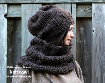WOOL COWL, knit cowl, brown knit cowl, chunky knit scarf, winter fashion cowl, super soft and cozy knit snood, 10 colors available