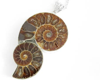 Double Ammonite Fossil Necklace, Brown Stone Jewelry, Paleontology Pendant