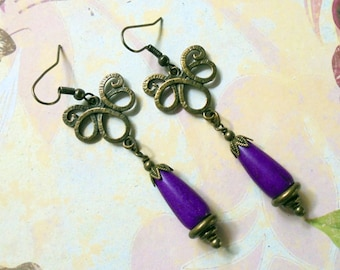 Violet and Brass Boho Drop Earrings (3108)