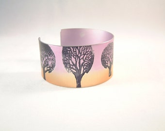 Winter tree anodised aluminium cuff bracelet bangle anodized aluminum jewelry jewellery nature modern