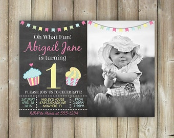 GIRLS FIRST BIRTHDAY Invitation - Girl 1st Birthday Invite - Oh What Fun - Cupcakes - Chalkboard - Bunting - Digital File