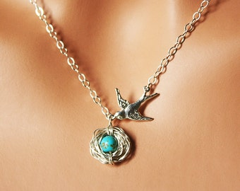 Mother's Day Gift - Sterling Silver One Egg Robin Nest Necklace - Speckled Blue Turquoise Bird Nest - Expecting Mommy / Grandmother To Be
