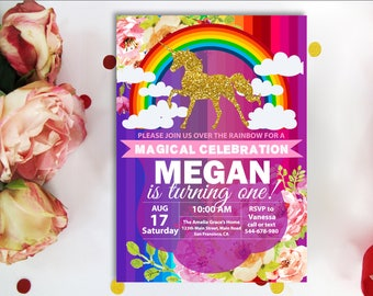 Unicorn Invitation. Rainbow Invitation, Magical Birthday Invitation, Unicorn Birthday Invitation, Rainbow Birthday, Pink Gold Purple,Digital