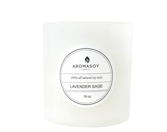 LAVENDER SAGE Soy Candle / White Candle  Aromatherapy Candle / Gift Idea / Home Decor / White Decor / Minimalist / Handmade / Mothers Day
