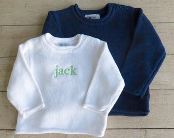 Monogrammed Baby Rollneck Sweater
