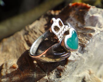 Green or Pink Claddagh Rings Sterling Silver 17mm Size 6.5