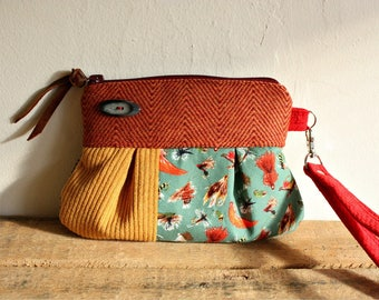 Cotton/ Wool Wristlet/ pleated pouch/ clutch in Fly Fishing Lures print---Ready to Ship--