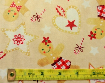 One Fat Quarter Cut Quilt Fabric, Christmas Gingerbread Boys/Girls, Hearts, Stars, Candy Canes, Timeless Treasures, Sewing-Quilting Supplies