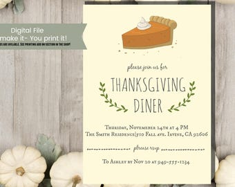 Pie Thanksgiving Holiday Invitation