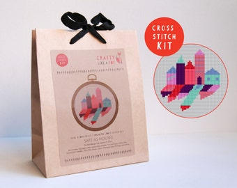 Cross stitch kit - cute little row of geometric houses - includes floss, aida, hoop, needle and instructions - EASY beginners